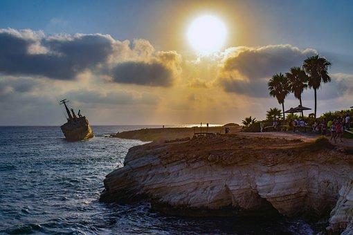 Shipwreck, Sea, Sky, Clouds, Sunset, Sun