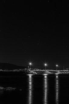 Night, Docks, Lighthouse, Dock, Pier, Water, Port, Sky