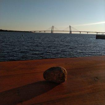 Sunset, Bay, Water, Lake, Sea, Bridges