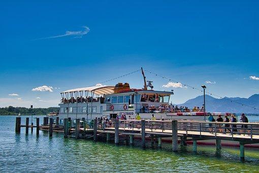 Lake, Chiemsee, Boat, Passenger Ship