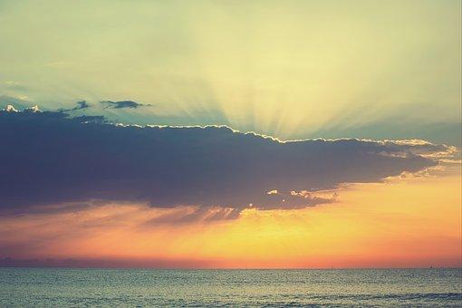 Landscape, Sea, Dawn, Sky, Clouds