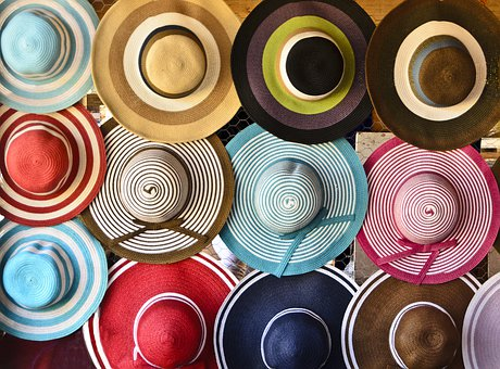 Hats, Colourful, Market, Woman, Summer, Fashion, Red