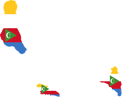 Comoros, Flag, Map, Geography, Outline, Africa, Country