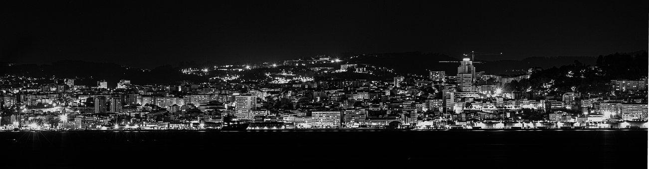Night, Black, Skyline, Moon, Space, Dark, City, Galaxy