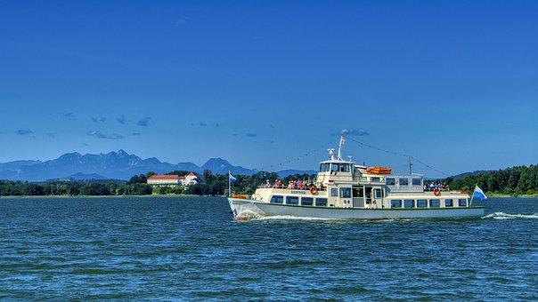 Landscape, Upper Bavaria, Chiemsee, Boat