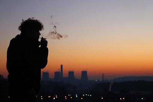 Silhouette, City, Skyline, People, Smoking, Evening