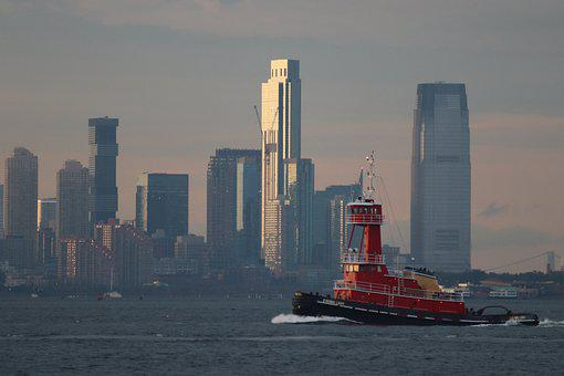 New York, Ship, Port, Skyline, Water, Manhattan