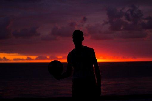 Sunset, Person, Seaside, Sun, Ball, Basketball