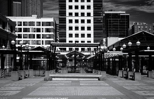 Seattle Usa, Office Complexes, Pavilion, Black White