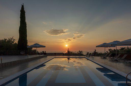 Hotel, Pool, Sunset, Resort, Water, Summer, Vacation
