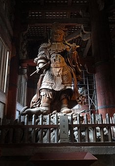 Japan, Kyoto, Wood Carving, Guardian, Temple, Giant
