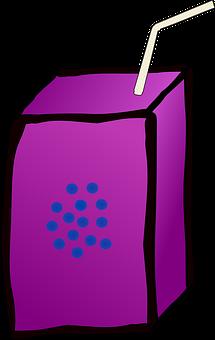 Drink, Juice, Straw, Box, Lilac, Violet