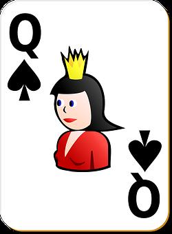 Spade, Queen, Card, Games, Recreation, White
