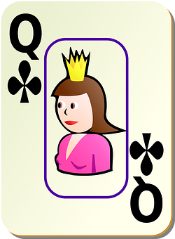 Clubs, Queen, Card, Recreation, Games, Cards, Bordered