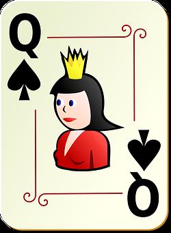 Spades, Queen, Poker, Gambling, Playing, Playing Cards
