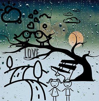 Art Of Loving Nature, Window, Glass, Rain Drops, Water