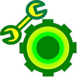 Gear Wheel, Wrench, Symbol, Icon, Design, Service