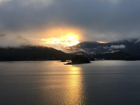 Sunrise, Alaskan Cruise, Alaska, Ocean, Scenic