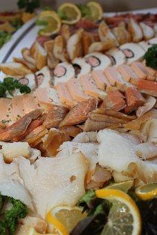 Fish Plate, Cold Buffet, Buffet, Fish, Salmon