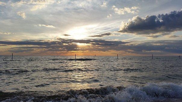 Sunset, Lake Michigan, Beach, Waves, Clouds, Horizon