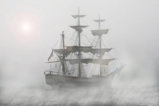 Pirates, Sailing Ship, Frigate, Ship, Fog, Voyage