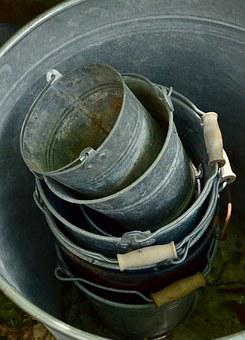 Sheet, Metal Bucket, Old, Stack, Vessels, Garden, Used