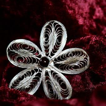 Jewellery, Brooch, Silver, Garnet, Filigree, Badges
