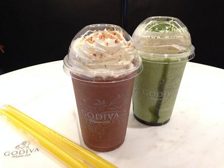 Godiva, Chocolates, Cocoa, Green Tea Latte