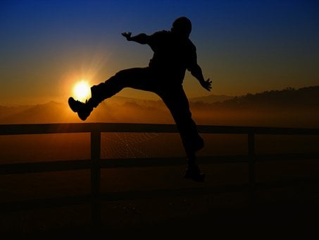 Sunrise, Sunset, Man, Human, Person, Football, Kick