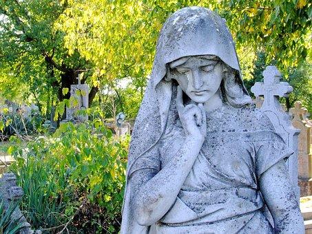 Calvary Cemetery, Baja, Statue, Sculpture, Woman, Maria