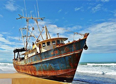 Ship, Boat, Castaway, Mar, Sky, Natal-rn