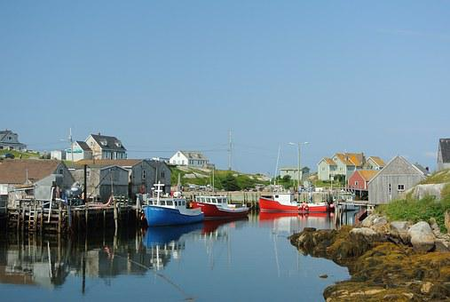 Fishing, Village, Nova, Scotia, Peggys, Cove