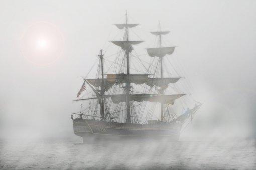 Pirates, Sailing Ship, Frigate, Ship, Fog, Voyage