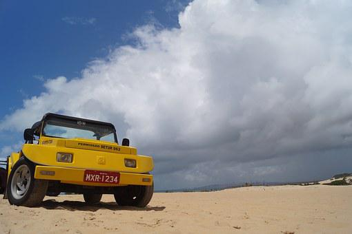 Buggy, Desert, Sea, Dunes, Clouds, Brazil, Natal, Tour