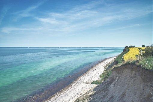Coast, Cliff, Sky, Mecklenburg, Holstein, Beach, Sea