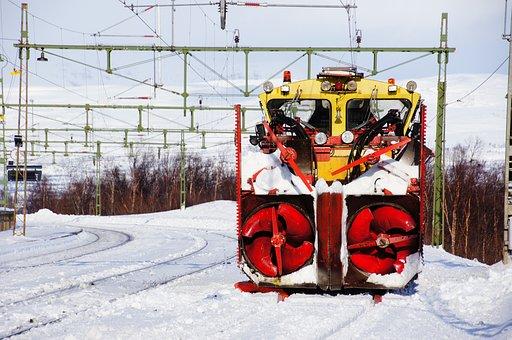 Snow Thrower, Train, Snow, Lapland, Sweden