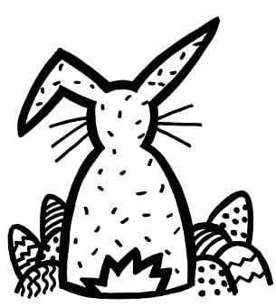 Drawing, Graphic, Hare, Easter Bunny, Easter Eggs