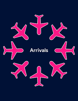 Airplane Outline, Arrivals, Fly