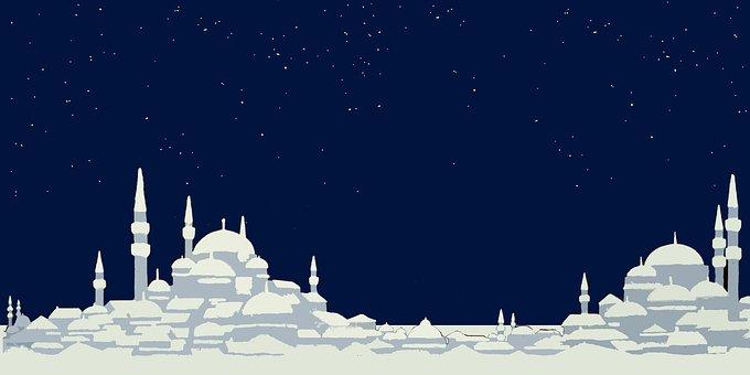Turkey, City, Dark, Night, Stars, Silhouette, Travel