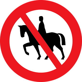 Sign, Riding, Prohibited, Horse