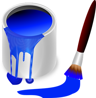 Bucket, Color, Blue, Brush, Painting, Paint, Tool