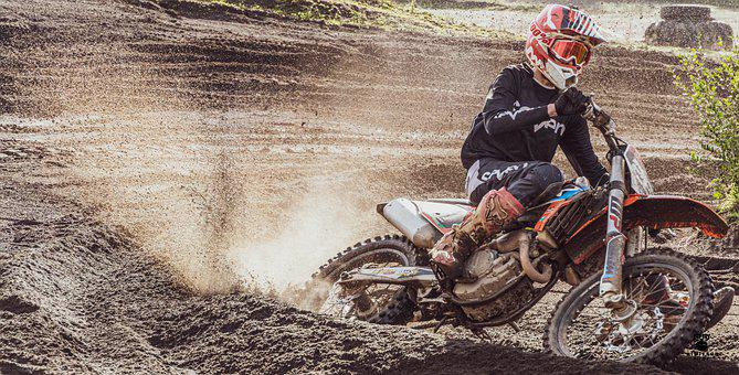 Motocross, Motorcycle, Speed, Helmet, Action, Track