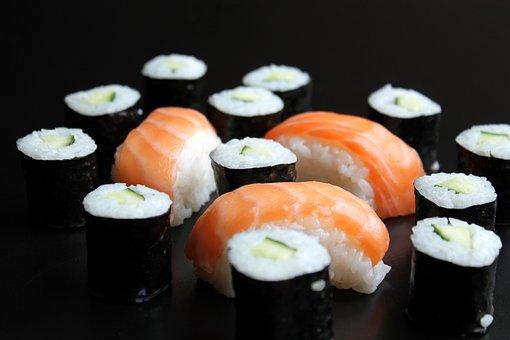 Sushi, Maki, Nigiri, Cucumber, Salmon, Rice, Fish