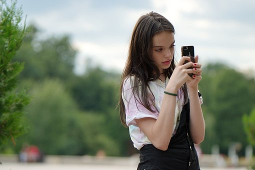 Girl, Taking Photos, Smartphone, Outdoors, Park, Nature