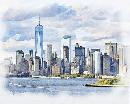 New York, Skyline, Skyscraper, Buildings, Watercolor