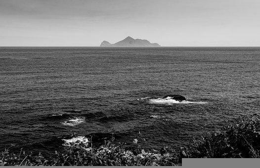 Sea, Rock, Mountain, Black And White, Ocean, Water