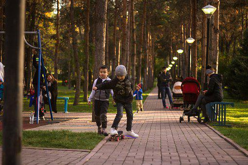 Kids, Game, Skateboard, Joy, Park, Pavement, Games