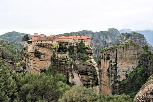 Monastery, Rocks, Meteora, Greece, Hiking, Landscape