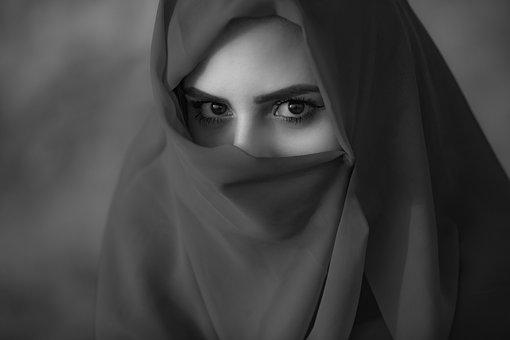 Arabic, Asian, Black And White, Burqa, Close-up