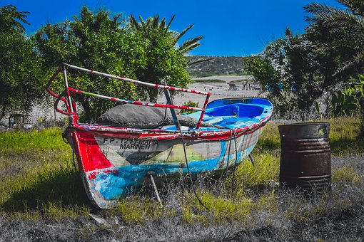 Boat, Abandoned, Wreck, Colorful, Barrel, Rusty, Decay
